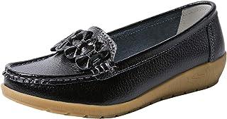 Mocassins en Cuir Loafer Souple Derbies Femme Compensées Chaussures de Ville