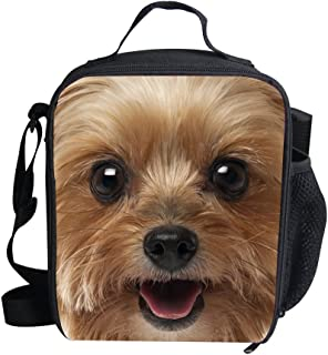 UNICEU Cute Dog Pattern Insulated Lunch Bag Durable Zipper Kids Adult Lunch Bag for Work Outdoor Casual 7.48inch(L) x3.15inch(W) x9.45inch(H) Yorkshire Terrier 3