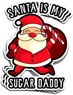 Lucky Star 3 PCs Stickers Santa is My Sugar Daddy Funny Christmas Holiday Season Womens Tee 4 × 3 Inch Die-Cut Wall Decals for Laptop Window