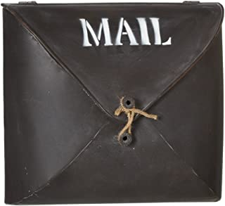 Envelope Brown Wall Pocket Metal Post Mailbox - Country Style Décor, Small