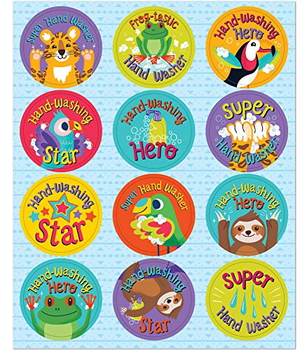 Carson Dellosa Education One World Wash Your Hands Social Distancing Stickers for Kids, 72 Stickers, 1.25-inch x 1.25-inch (168302)