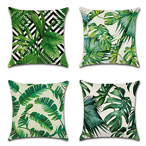 JOTOM Cushion Cover Decorative Cotton Linen Square Throw Pillow Cover Sofa Car Pillowcase for Home Bed Decor 45cm x 45cm,Set of 4 (Tropical Plant A)