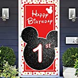 Cartoon Black Red Mouse Happy 1st Birthday Photo Banner Backdrop Background Backdrop Oh Twodles Theme Decor for Boy Girl Princess High Chair Birthday Party Baby Shower Supplies Decorations Favors
