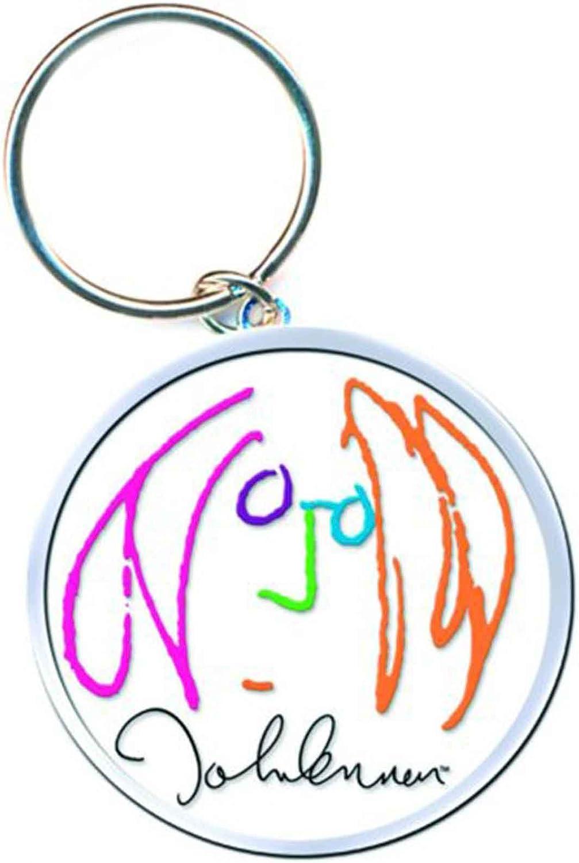 John Lennon Keyring Keychain Self Portrait Logo Peace Official White