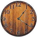 Reloj de pared de 25,4 cm, estilo vintage, con barril, para sala de estar, 25,4 cm