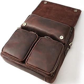 "Men's Accessories 13"" Notebook Phone Tablet,Dark Brown Retro Style Leather Messenger Bag Handbag Business Briefcase Outdoor Recreation"
