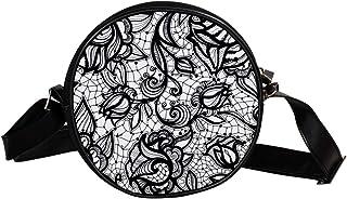 Coosun Abstrakte schwarze und weiße Blumen, runde Umhängetasche, Schultertasche, Handtasche, Umhängetasche, Schultertasche...