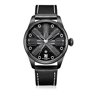 T5 H3632G-A Leather Round Analog Watch for Men - Black