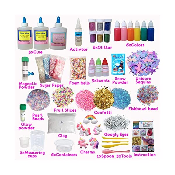 Ultimate Unicorn Slime Kit for Girls - Perfect Toys Gifts for 7 8 9 10 11 12 Year Old Girls Birthday - Best Value DIY Slime Supplies Kits for Making Tons of Various Fail-Proof Slimes 6
