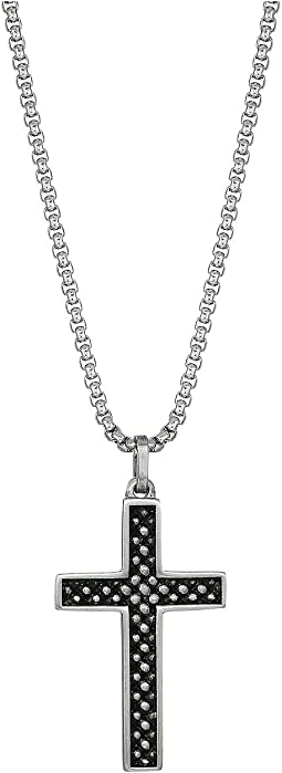 Box Chain with Textured Design Cross Pendant Necklace in Stainless Steel