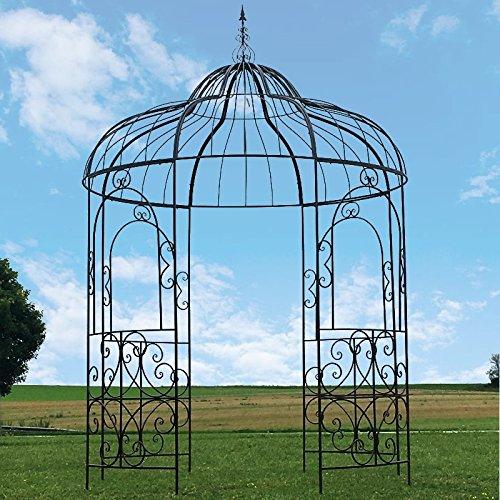 chemin_de_campagne Grande Gloriette Pergola Tonnelle Fer Kiosque Jardin ø215 cm