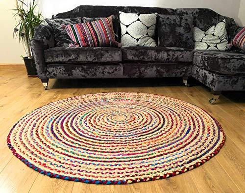 Second Nature Online Mishran-Teppich, umweltfreundlich, rund, geflochten, aus natürlicher Jute und recyceltem Material, mehrfarbig, baumwolle, mehrfarbig, 120cm Diameter