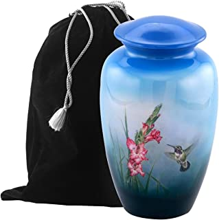 Eternitymart's Aesthetic Painted Cremation Urn - Affordable Metal Urn - Hand Painted Solid Metal Urn for Ashes, Adult Cremation Urn with Free Velvet Bag (Hummingbird)