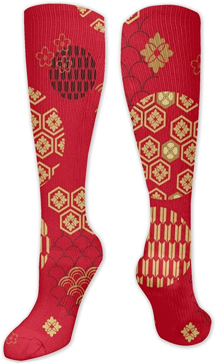 Red Style Flowers Knee High Socks Leg Warmer Dresses Long Boot Stockings For Womens Cosplay Daily Wear