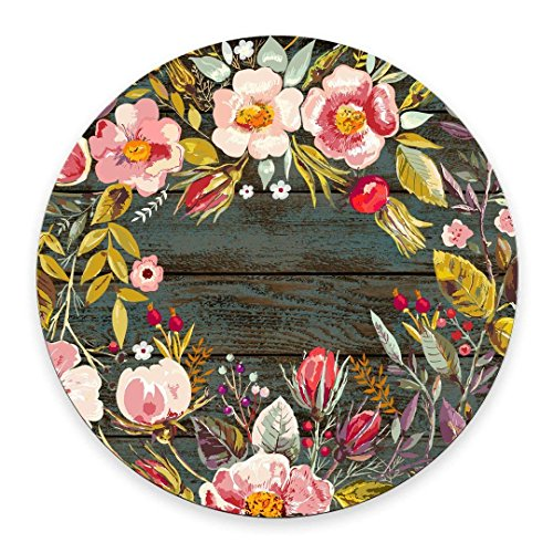 Gaming Round Mouse Pad Custom Design, Vintage Background with Hand Drawn Floral Wreath Image on Rustic Wood Non-Slip Rubber Mouse Pad Mousepad Mat