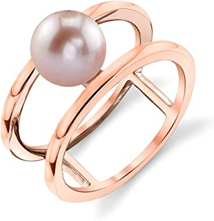 7-8mm Genuine Pink Freshwater Cultured Pearl Rose Gold Ora Ring for Women