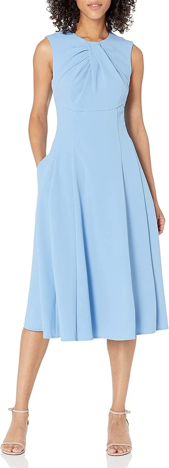 Maggy London Women's Sleeveless Round Neck Fit and Flare Midi Dress