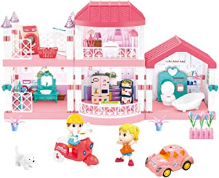 Heruo Doll House Dream House, Large Two-Story Dollhouse with 5 Rooms and Furniture, 133 Accessories Dreamhouse with Lights...
