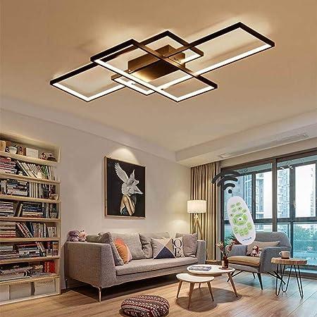 Jsz LED Dimmable Plafonnier Salon Lampe avec Télécommande Moderne Plafond Plafond Creative Métal Acrylique Design Plafond Lampe Éclairage Chambre Décor Lampe,Noir,105cm