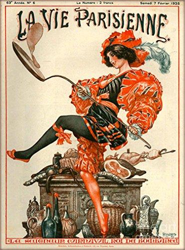 1925 La Vie Parisienne Le Seigneur Carnaval Roi da Bombanca Girl Cooking French Nouveau from a Magazine France Travel Advertisement Picture Art Poster Print. Poster measures 10 x 13.5 inches