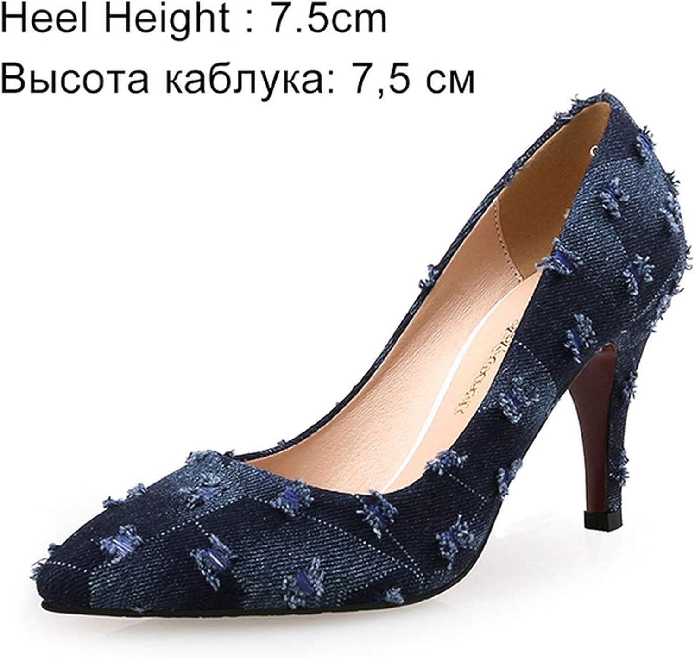 DATAYANG KVINNOR Pumpar High klackar skor skor skor Kvinna Casual Thin Heel Point Toe Party Plus Storlek  mer rabatt