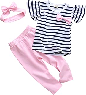 3Pcs Baby Girl Clothes Stripe Ruffle Tops Pink Pants with Headband Outfit Sets