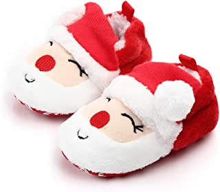 Christmas Shoes for Baby Girls,Soft Slip On Anti-Slip Warm Toddler Newborn Kid 12-24 Months Size 4 Fashion First Walkers