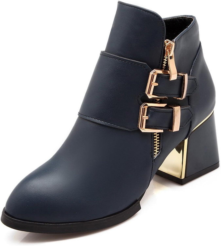 BalaMasa Girls Zipper Electroplate Heel Studded Rhinestones Metal Buckles Imitated Leather Boots