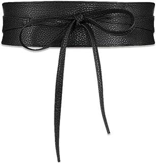 Wide Waist Belt Leather Waistband Wrap Around Obi Band Cinch Women Stretch Lady Black