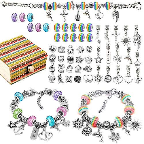 Kids Gift for 6 7 8 9 10 Year Old Girl Jewellery for Girls Age 9 10 11 12 Kids Arts and Crafts for 5-11Year Old Girl Birthday Present for 7 8 9 10 Year Old Gifts Charm Bracelet Kit Arts and Crafts