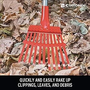 Corona RK 62060 Fixed Tine Shrub Rake, Aluminum Handle, 8-Inch Wide
