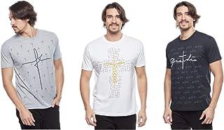 Kit 3 camisetas masculina religiosas frases evangélica gospel Pequeno ao Plus Size (GG)