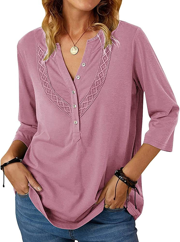 MIRACMODA Women's Shirts Shift V-Neck with Lace 3/4 Sleeve Button-Down Blouse Tops
