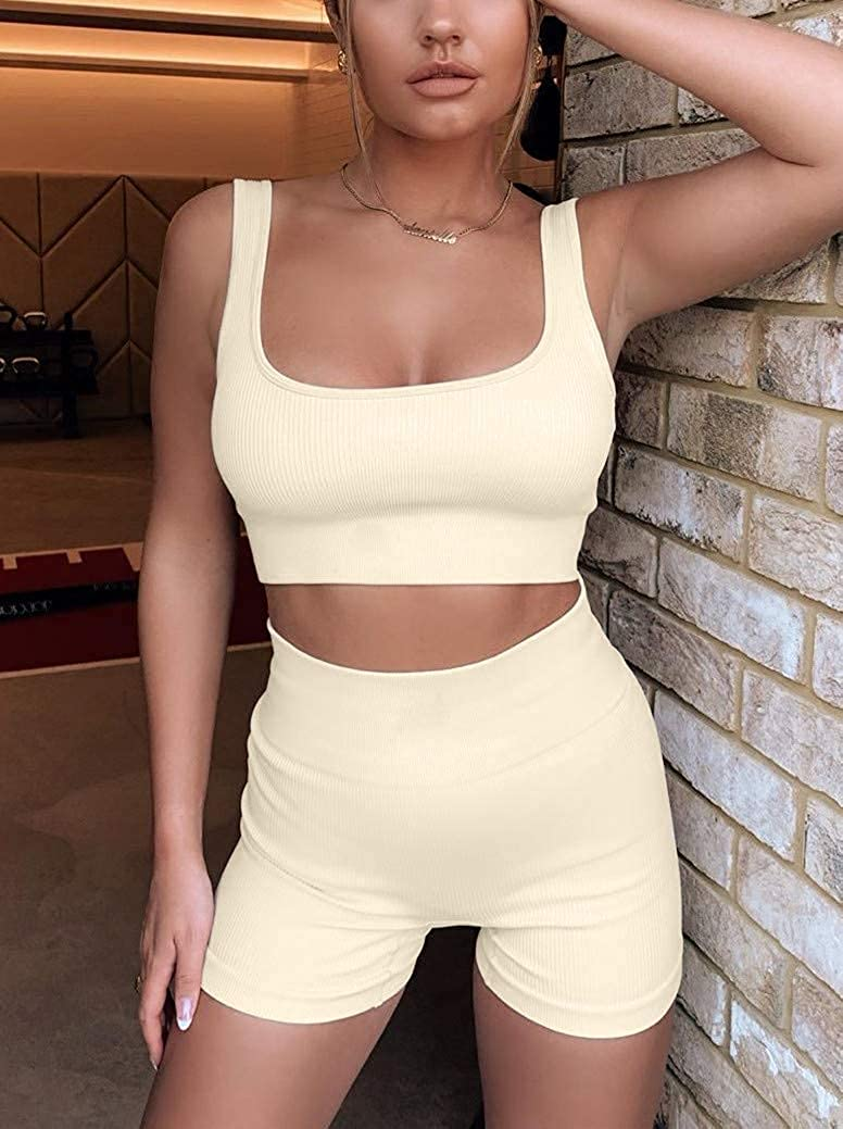 Gym Sets for Women 2 Piece Workout Sets Seamless Ribbed Crop Tank High Waist Shorts Yoga Outfits