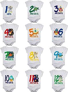 Kit Body de Bebê Mês Aniversário Menino - 12 bodies