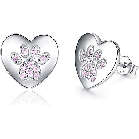Blue Paw Earrings Sterling Silver Love Heart Gift