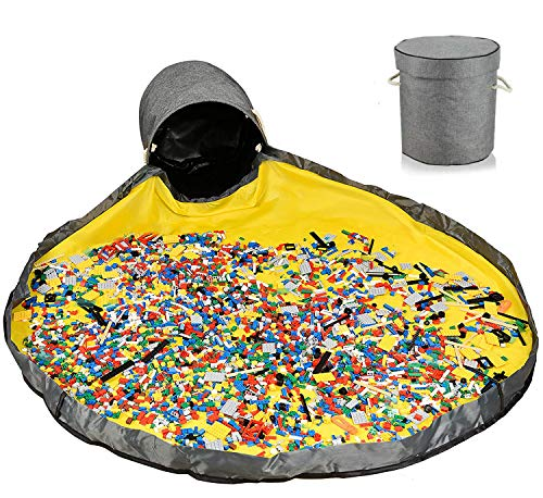 Sac de Rangement Jouet, JOLY FANG Tapis de Jeu Organisateur de Jouets Organisateur Rangement pour Lego Tapis Panier De Rangement Pour Jouets Portable enfants jouets organisateur (Gris)