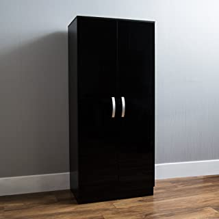 Amazon Marque - Movian Hulio Armoire 2 portes, Noir, 170 x 76 x 47 cm