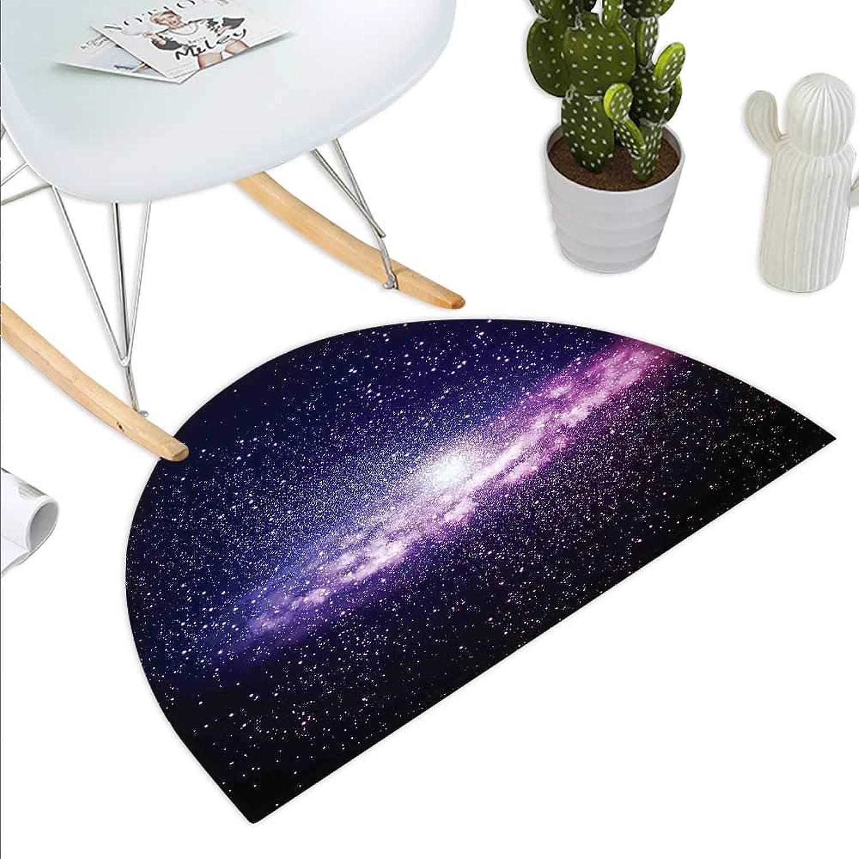 Galaxy Semicircle Doormat Nebula Cloud in Milky Way Infinity in Interstellar Solar System Design Print Halfmoon doormats H 43.3  xD 64.9  Purple Dark bluee