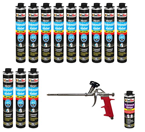 SET Dämmstoffkleber 12 Dose 750ml Klebeschaum Perimeterkleber Kleber für Dämmung + 1 Reiniger + 1 Schaumpistole