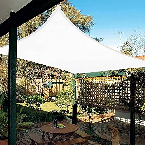 DANYCU Vela de sombrilla de jardín para Patio Cubierta de Pantalla Rectangular Toldo de sombrilla al Aire Libre Toldo Protector Solar Impermeable de Tela Oxford,Blanco,2×2.5M(6.5×8ft)