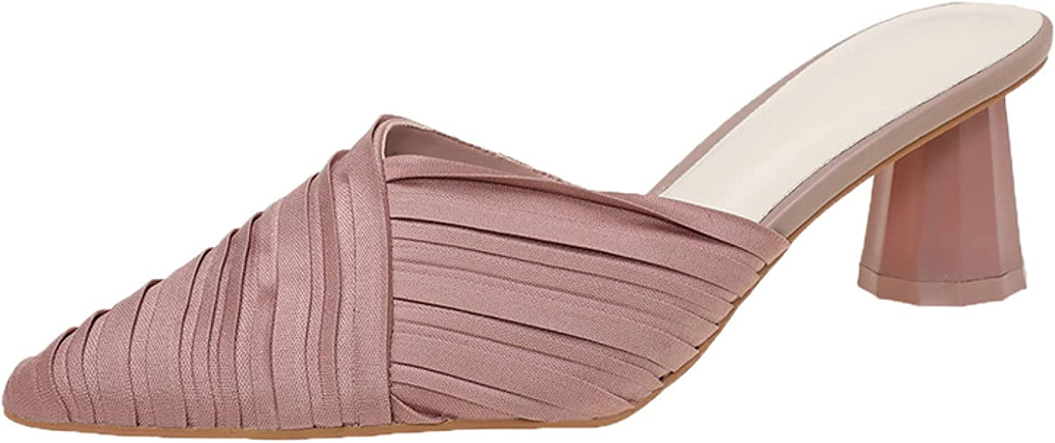 Style Be super welcome Mid Chunky Heeled Slide Japan Maker New Mule for Slip Shoes Open on Womens