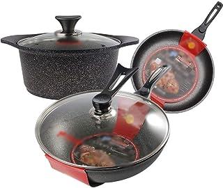 Juegos de ollas Batería de cocina 3pcs antiadherente sartén wok y Olla de cocina Juego de sopa de olla de cocina wok Combinación Conjunto herramientas de cocina