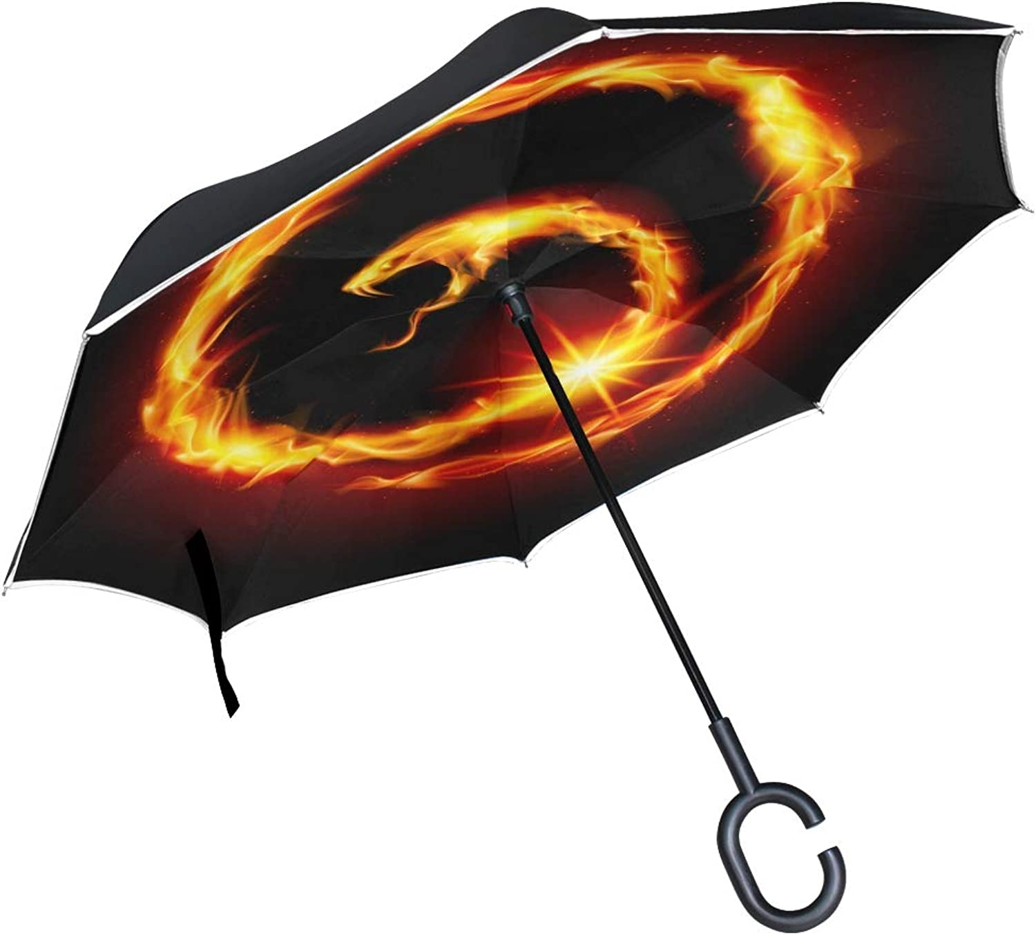 Double Layer Ingreened Abstract Spiral Snake Illustration On Black Umbrellas Reverse Folding Umbrella Windproof Uv Predection Big Straight Umbrella for Car Rain Outdoor with CShaped Handle