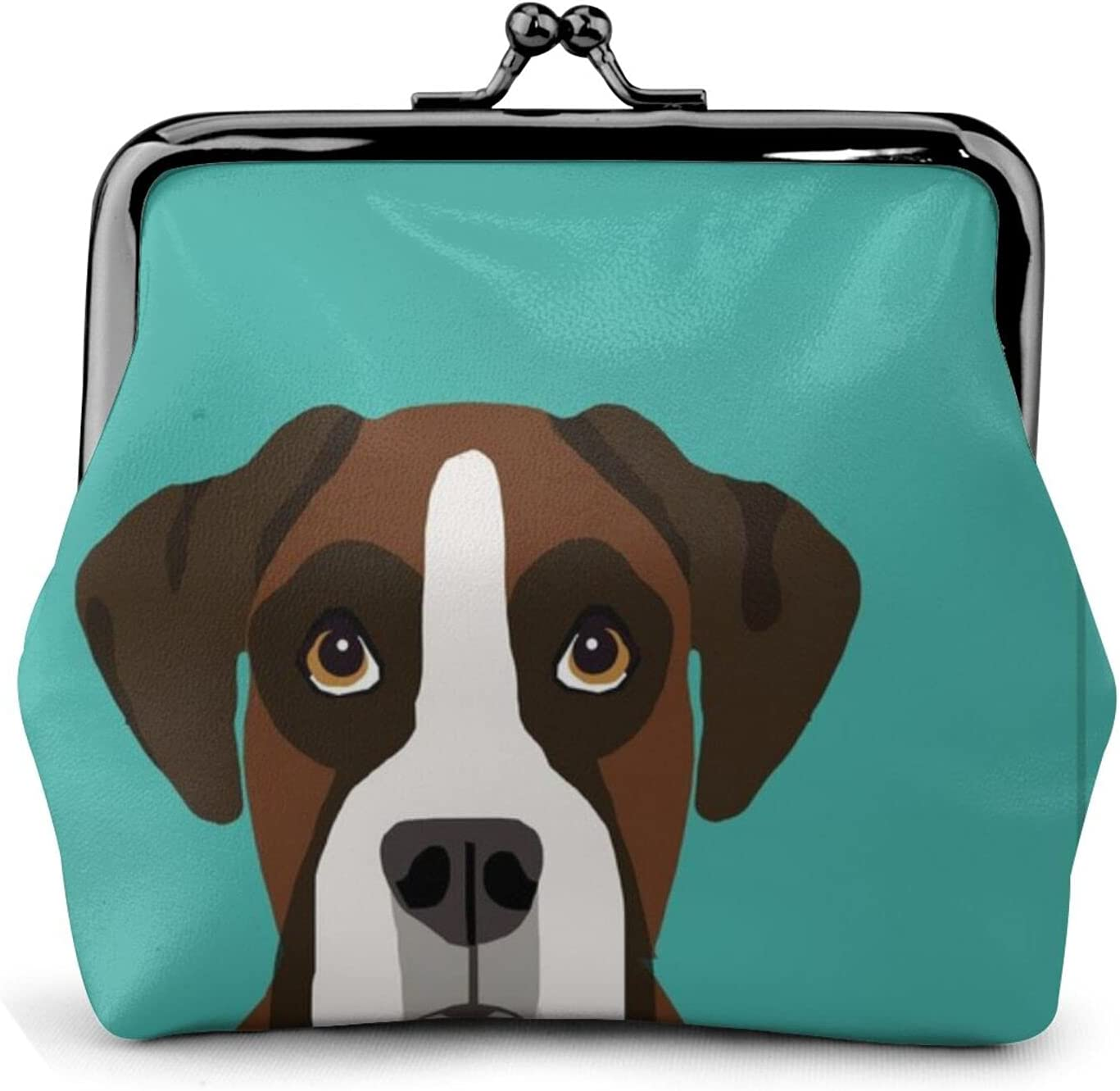 Boxer Dog With 1157 Leather Coin Purse Kiss Lock Change Pouch Vintage Clasp Closure Buckle Wallet Small Women Gift