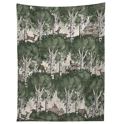 Tapiz para colgar en la pared, diseño de bosque secreto de mi ciervo, tapiz de pared, decoración de dormitorio, decoración de pared, 150 x 120 cm