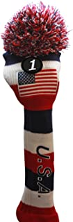 USA Majek Golf Driver Pom Pom Knit Limited Edition Vintage Classic Traditional Flag Stars Red White Blue Stripes Retro Headcover Head Cover Fits 460cc Drivers for Metal Woods
