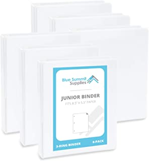 Blue Summit Supplies Mini 3-Ring Binder, Junior 1 Inch Mini Binder, Small 3-Ring Binder, Small Size Fits 5 1/2 x 8 1/2 Binder Paper, Set of Small Binders Ideal for Playbills or Planner, White, 6 Pack