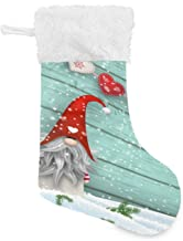 STAYTOP Folklore Elves Tomte Traditional Gnome Santa Claus Teal Wood Wall Christmas Stockings, Big Xmas Stockings Gift Dec...