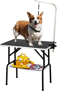 SUNCOO 32/36 Inch Foldable Pet Dog Cat Grooming Table Professional Drying Trimming Table,Portable Groomer Station w/Adjustable Arm & Noose & Mesh Tray,Heavy Duty Steel 220/250 BLS